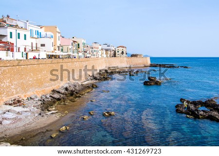 View of the promenade in the downtown of Alghero, Sardinia - stock photo