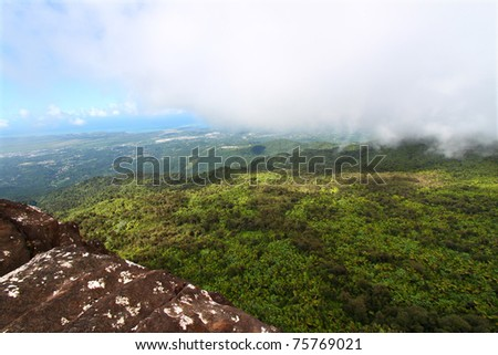 View of the Puerto Rican landscape from El Yunque Peak - stock photo