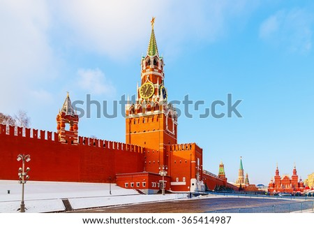 View of the Red Square and the Spassky tower winter sunset - stock photo