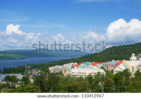 View of the resort village of Mont Tremblant in summer - stock photo
