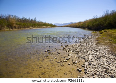View of the Rio Grande River in Big Bend National Park. International Border between United States and Mexico. - stock photo