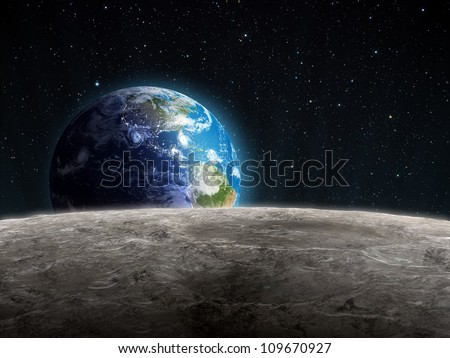 View of the rising Earth seen from the Moon's surface - stock photo
