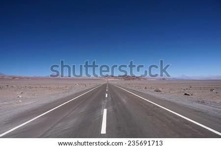 View of the road, Atacama Desert, Chile - stock photo