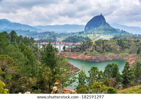View of The Rock near the town of Guatape, Antioquia in Colombia - stock photo