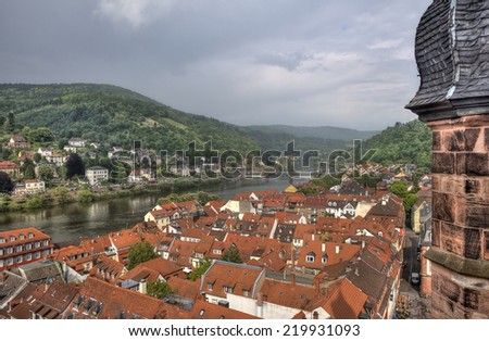 View of the roofs of Heidelberg and the Neckar river from the top of the tower of the Holy Spirit Church in Heidelberg, Germany - stock photo