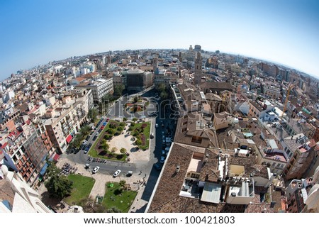 View of the roofs of Valencia, Spain, from top of the Cathedral. - stock photo