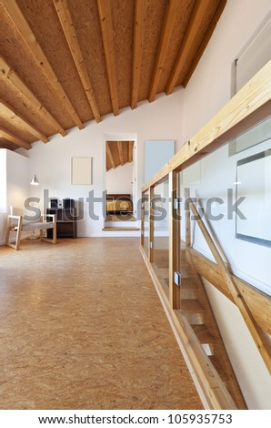 view of the room, rural home interior - stock photo