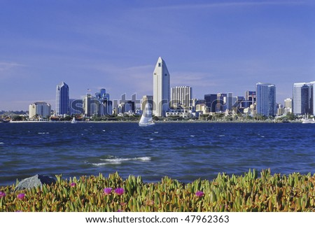 View of the San Diego, California skyline as seen from Coronado Island. - stock photo