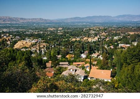 View of the San Fernando Valley from Top of Topanga Overlook, in Topanga, California. - stock photo