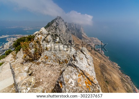 View of the sea and the city of Gibraltar from the top of the mountain, Gibraltar - stock photo