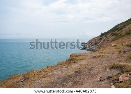 View of the sea coastline at Khao Laem Ya, Mu Ko Samet National Park in the Gulf of Thailand. - stock photo