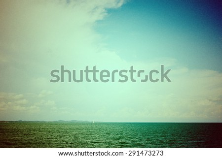 View of the sea in grunge and retro vintage style - stock photo