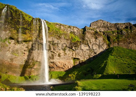 view of the Seljalandsfoss waterfall in Iceland - stock photo