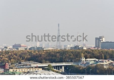 View of the Shukhov tower in Moscow - stock photo