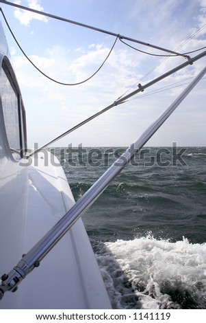 View of the side of a Saltwater Sport Fishing Yacht - stock photo