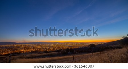 View of the Silicon Valley from Mount Hamilton at sunset - stock photo