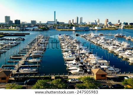 View of the skyline and Frank S. Farley State Marina from the Golden Nugget parking garage in Atlantic City, New Jersey. - stock photo