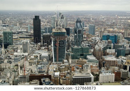 View of the skyscraper buildings in the City of London financial district. - stock photo