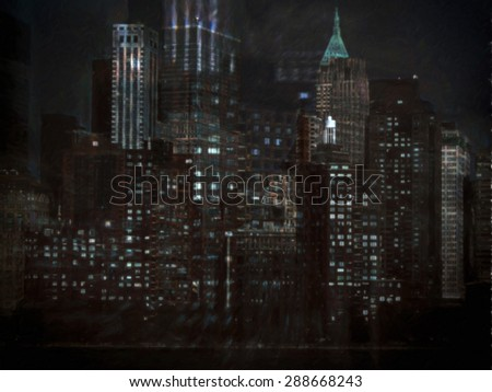 View of the skyscrapers of New York City at night - stock photo