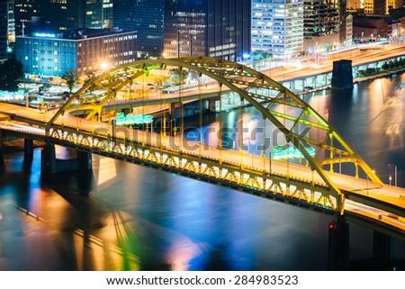 View of the Smithfield Street Bridge at night from Grandview Avenue in Mount Washington, Pittsburgh, Pennsylvania. - stock photo