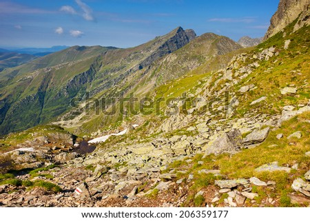 View of the spectacular Fagaras mountains in Romania - stock photo