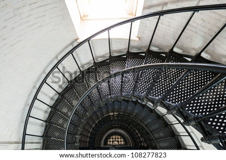 View of the spiral staircase inside the St. Augustine Lighthouse - stock photo