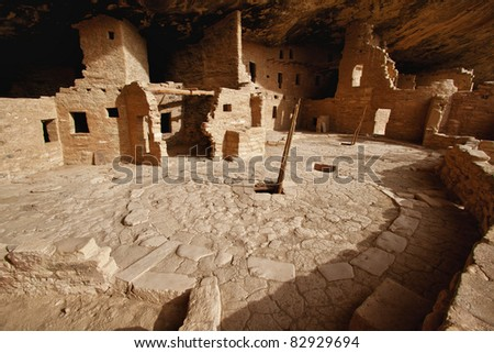 view of the Spruce Tree House, Mesa Verde National Park, Colorado - stock photo
