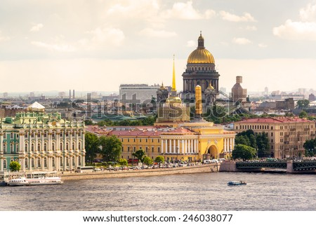 View of the St. Petersburg and the Neva River, Russia. St. Isaac's Cathedral in the distance. - stock photo