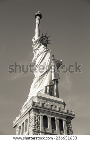 View of the Statue of Liberty in New York, USA. (sepia photo) - stock photo