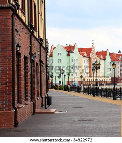 View of the street of an old city of Kenigsberg (Kaliningrad) in Russia - stock photo