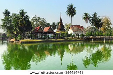 View of The Sukhothai Historical Park ancient ruins  Thailand - stock photo