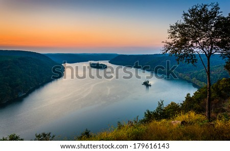 View of the Susquehanna River at sunset, from the Pinnacle in Southern Lancaster County, Pennsylvania. - stock photo