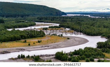 View of the Tanana river from the Richardson Highway outside of Fairbanks, Alaska. - stock photo