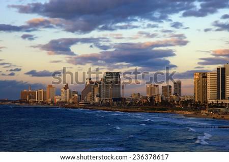 View of the Tel Aviv, Israel. Twilight. - stock photo