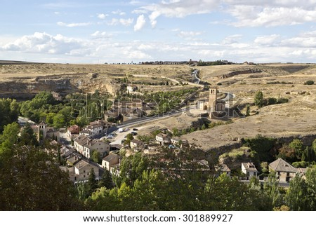 View of the Templar Church of Vera Cruz seen from the El Alcazar castle-palace in Segovia, Spain - stock photo