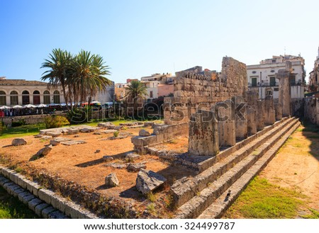 View of the Temple of Apollo in Siracusa, Sicily - stock photo