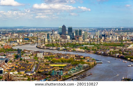 View of the Thames from the Shard skyscraper in London - stock photo