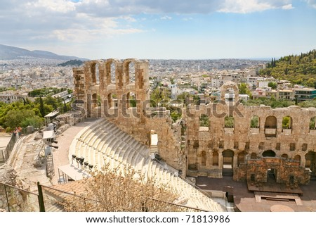 View of the theater Odeon from the Acropolis, Greece - stock photo