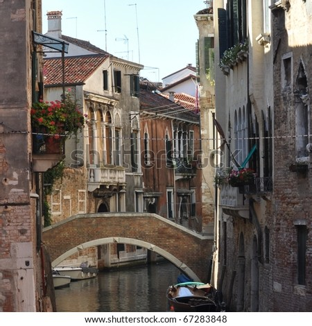 View of the town of Venice (Venezia) in Italy - stock photo