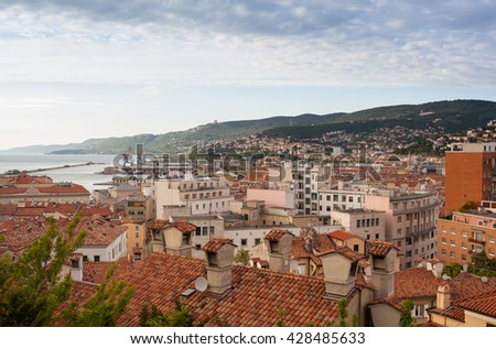 View of the Trieste roofs and sea, Italy - stock photo