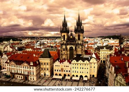 View of the Tyn Church in Prague at sunset, Czech Republic - stock photo