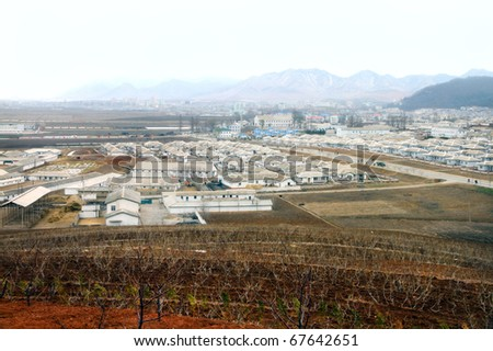 View of the typical North Korea village - stock photo