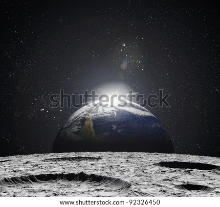 View of the Universe from the moon's surface. Abstract illustration of distant regions. - stock photo