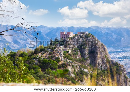 View of the Utvegio castle on Pellegrino mount in Palermo,  Sicily, Italy. - stock photo