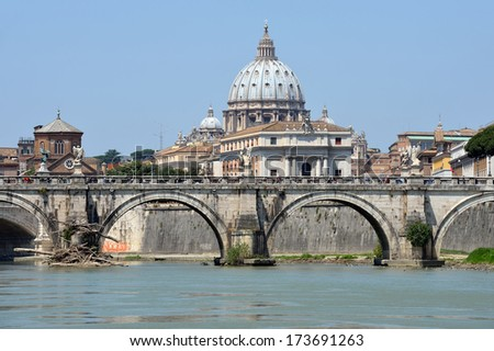 View of the Vatican across the Tiber River of Rome, Italy - stock photo
