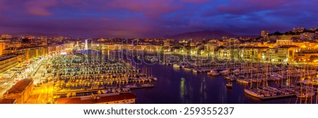 View of the Vieux port (Old Port) in Marseille, France - stock photo