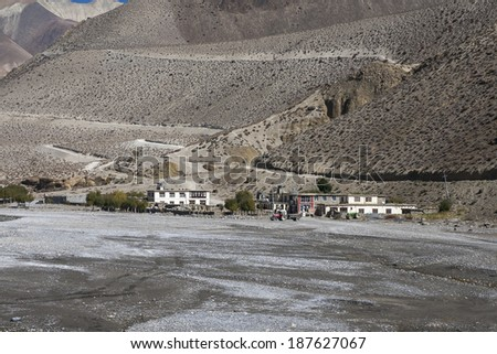 view of the village Ekle Bhatti in the Himalayas  - stock photo