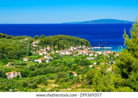 View of the village of Zuljana, in the Peljesac peninsula in southern Dalmatia, Croatia - stock photo