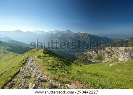 View of the western part of the Tatra Mountains. - stock photo