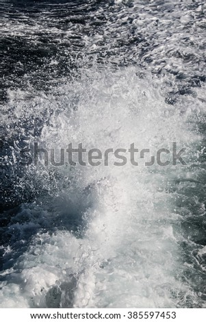 View of the white water from the rear of a ship - stock photo